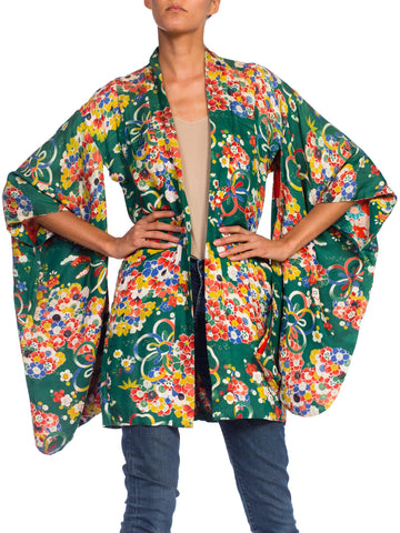1930S Green Silk Floral & Ribbon Bouquet Print Short Kimono