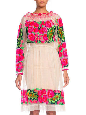1970s Sheer Romanian Hot Pink Embroidered Dress