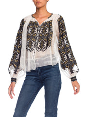 Boho Romanian Hand Embroidered Net Blouse With Gold Details