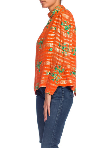 1970S Orange Rayon & Lurex Chiffon Long Sleeve Blouse With Green Floral Embroidery