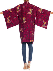 Japanese Silk Kimono with Hand Painted Details