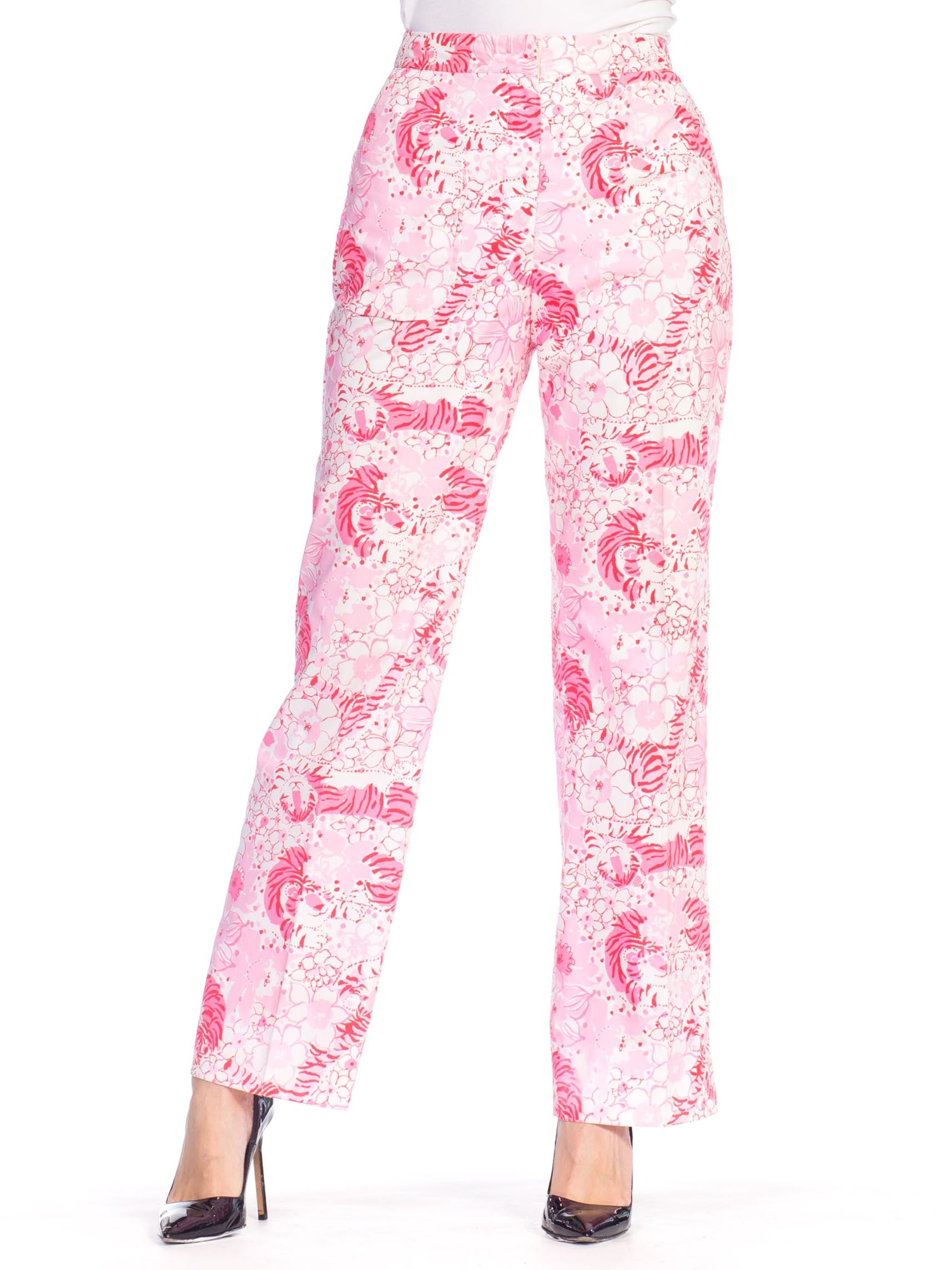 1970S LILLY PULITZER Pink  & White Cotton Floral Tiger Print Pants