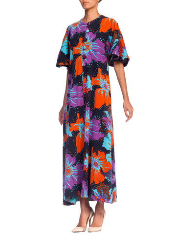1960S 1960'S Psychedelic Terry Cloth Maxi Dress Cover Up