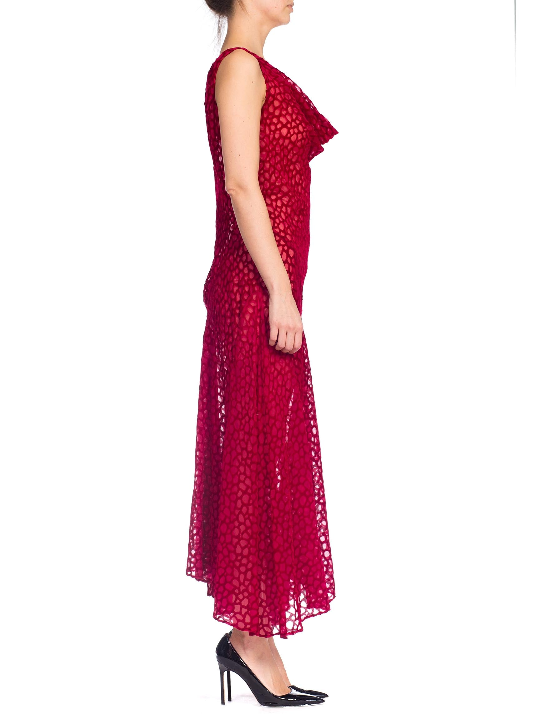 1990S JOHN GALLIANO Style Cranberry Red Bias Cut Rayon Blend Burnout Velvet Gown