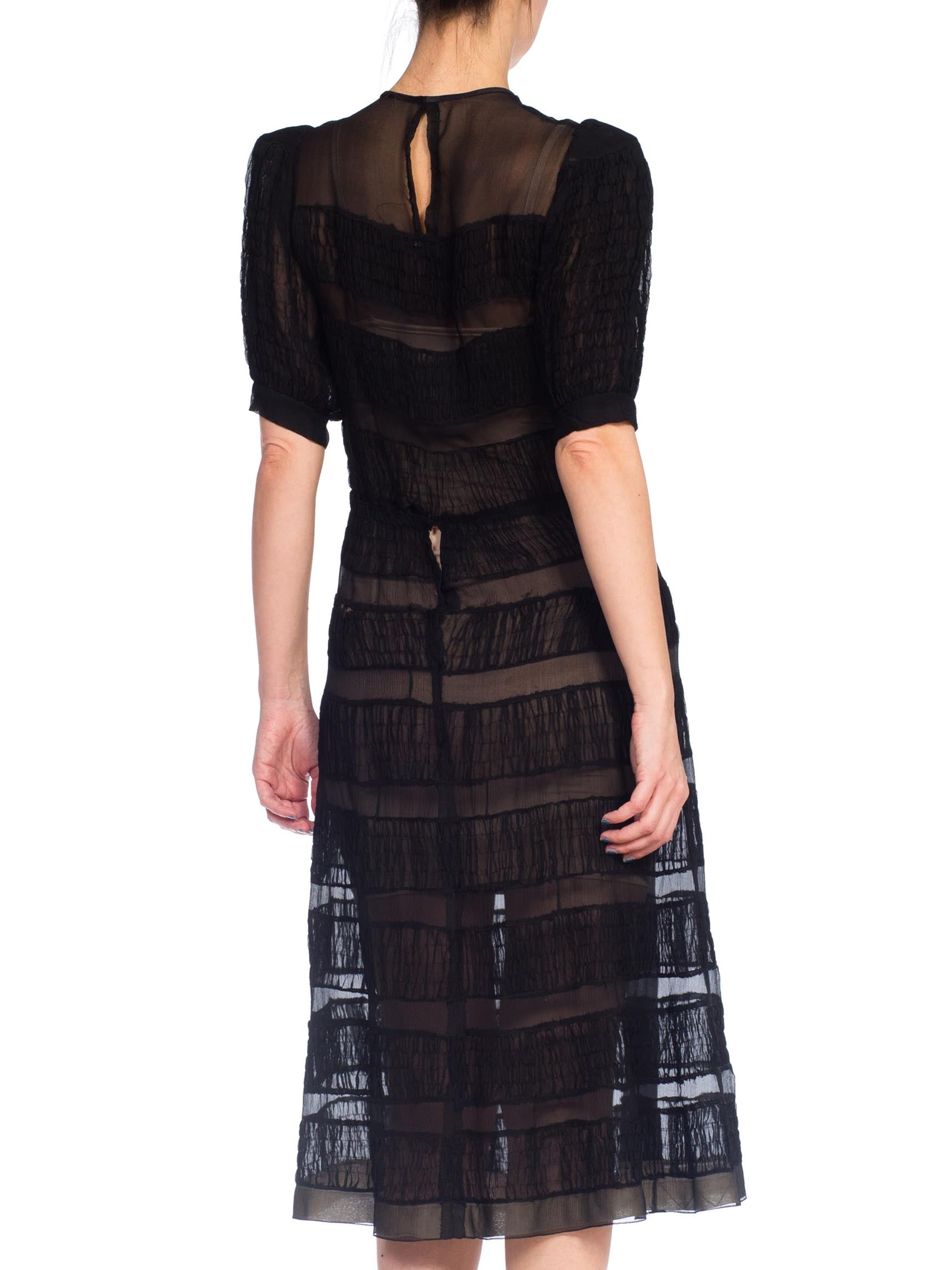1930S  Black Sheer Silk Chiffon Dress With Couture Hand Shirring From Paris
