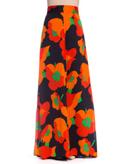 1970s Large Scale Poppy Floral Silk Skirt