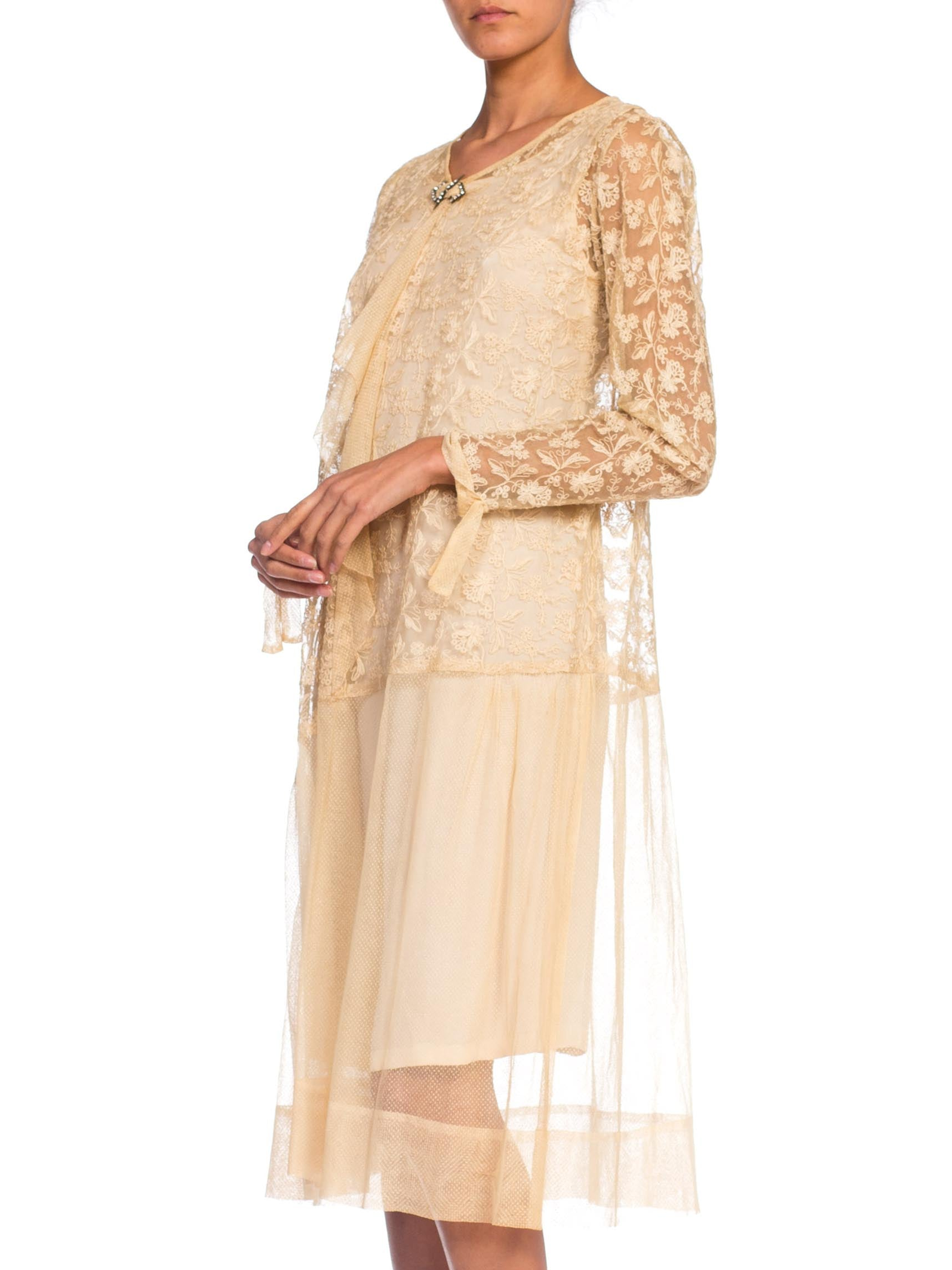 1920S  Beige Cotton Embroidered Tulle & Lace Flapper Era Tea Dress With Sleeves Jabot