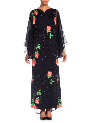 1970's Rose Print Maxidress Chiffon Sleeves