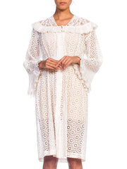 1930s Victorian Eyelet Lace Duster Dress