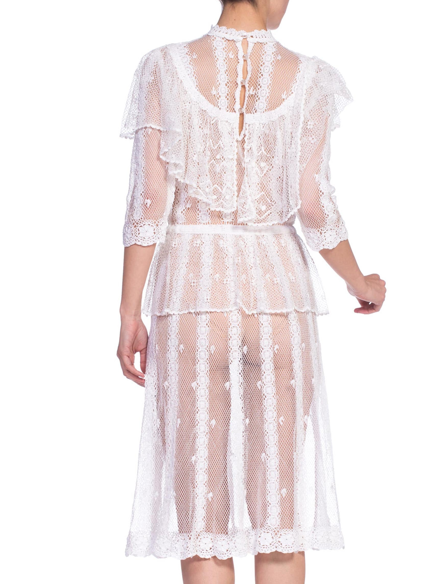 1970's Victorian 1890's Style White Hand Crochet Lace Dress