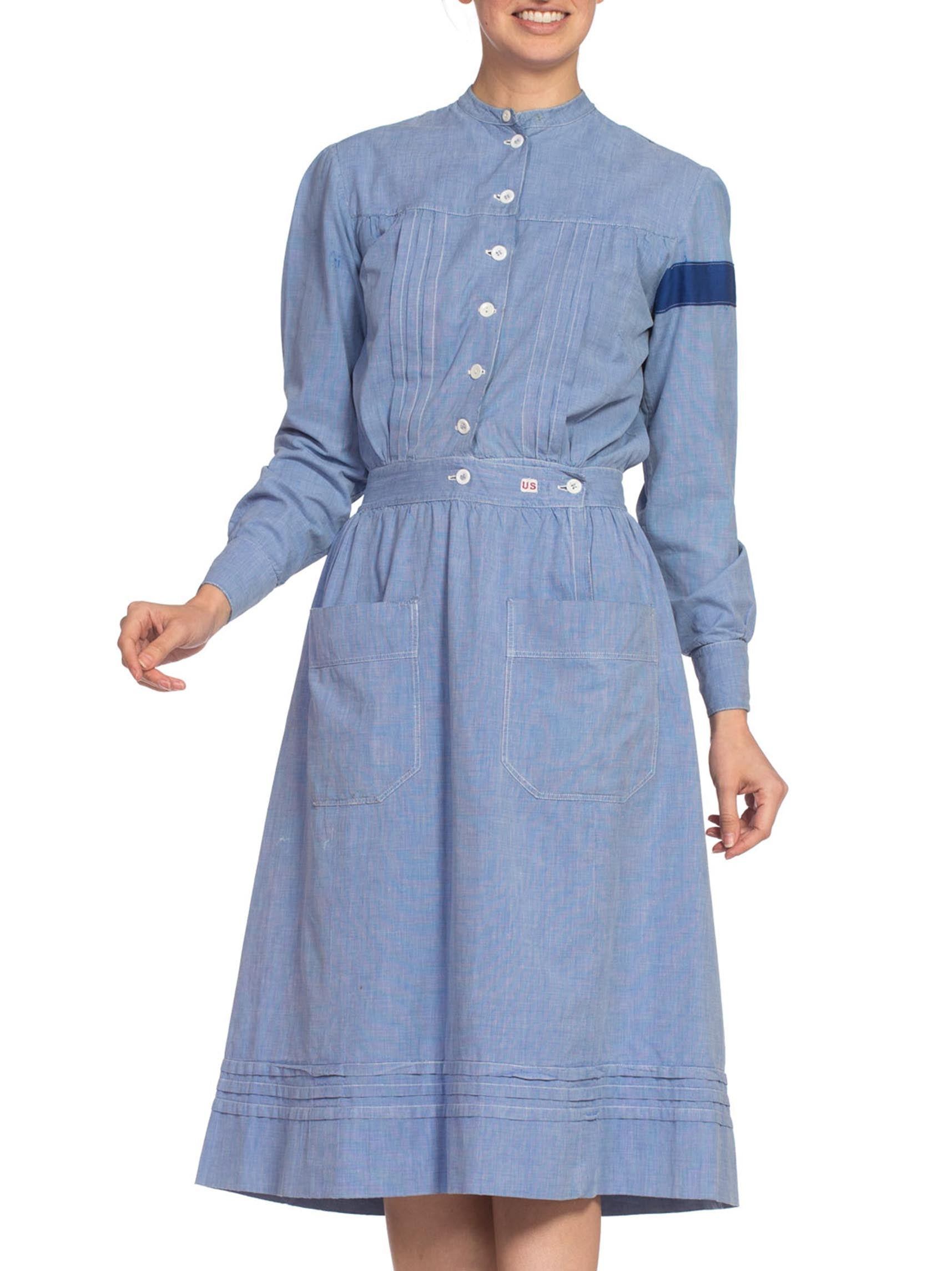 Edwardian Cotton Chambray WWI Authentic War Nurse Uniform Dress