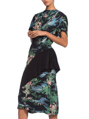 1940's Brush Stoke Print Floral Rayon Dress With Asymmetrical Peplum Skirt