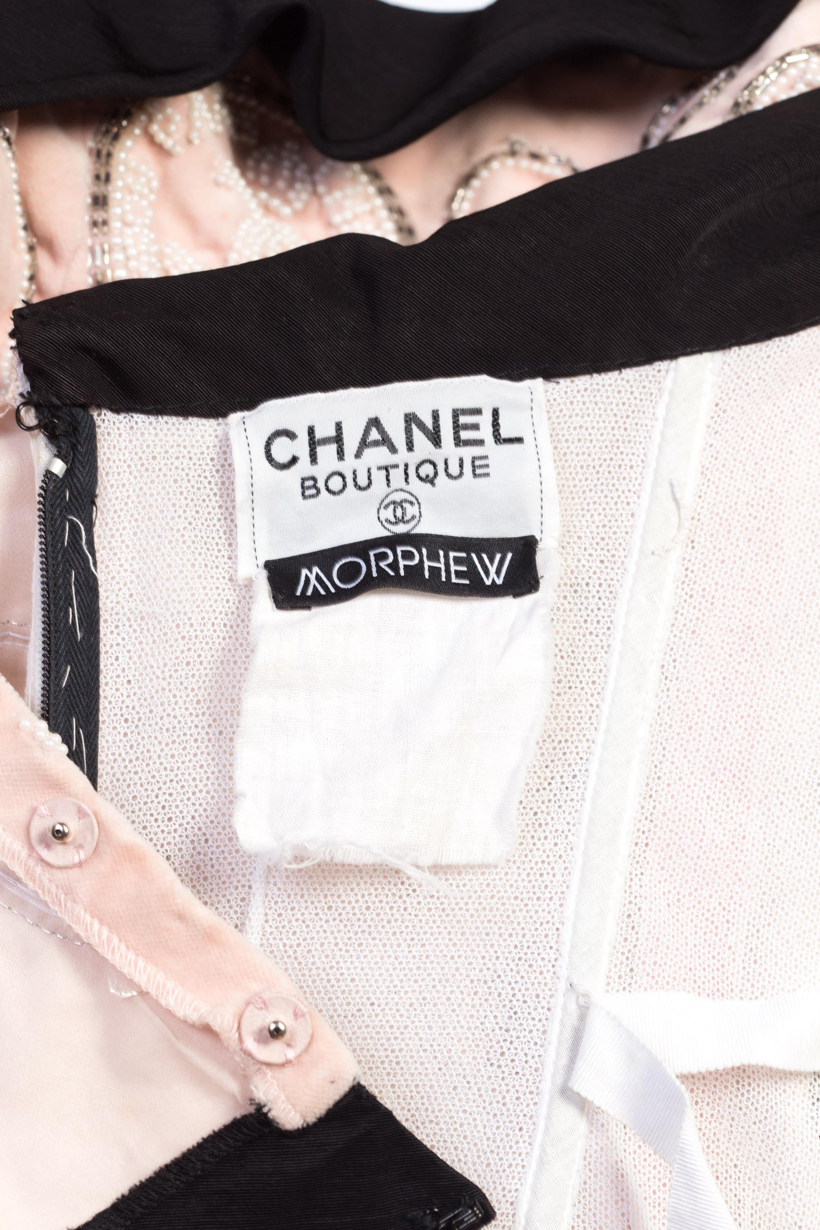 1980'S CHANEL Baby Pink & Black Silk Velvet Cocktail Dress Beaded With CC Logo In Pearls