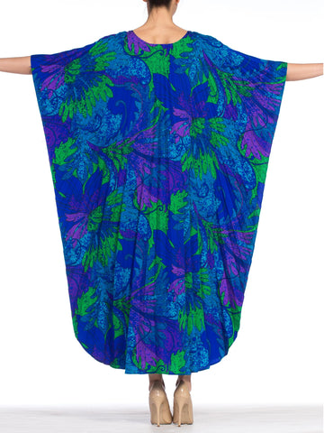 1960S Printed Tropical Cotton Barkcloth Pleated  Kaftan Made In Hawaii