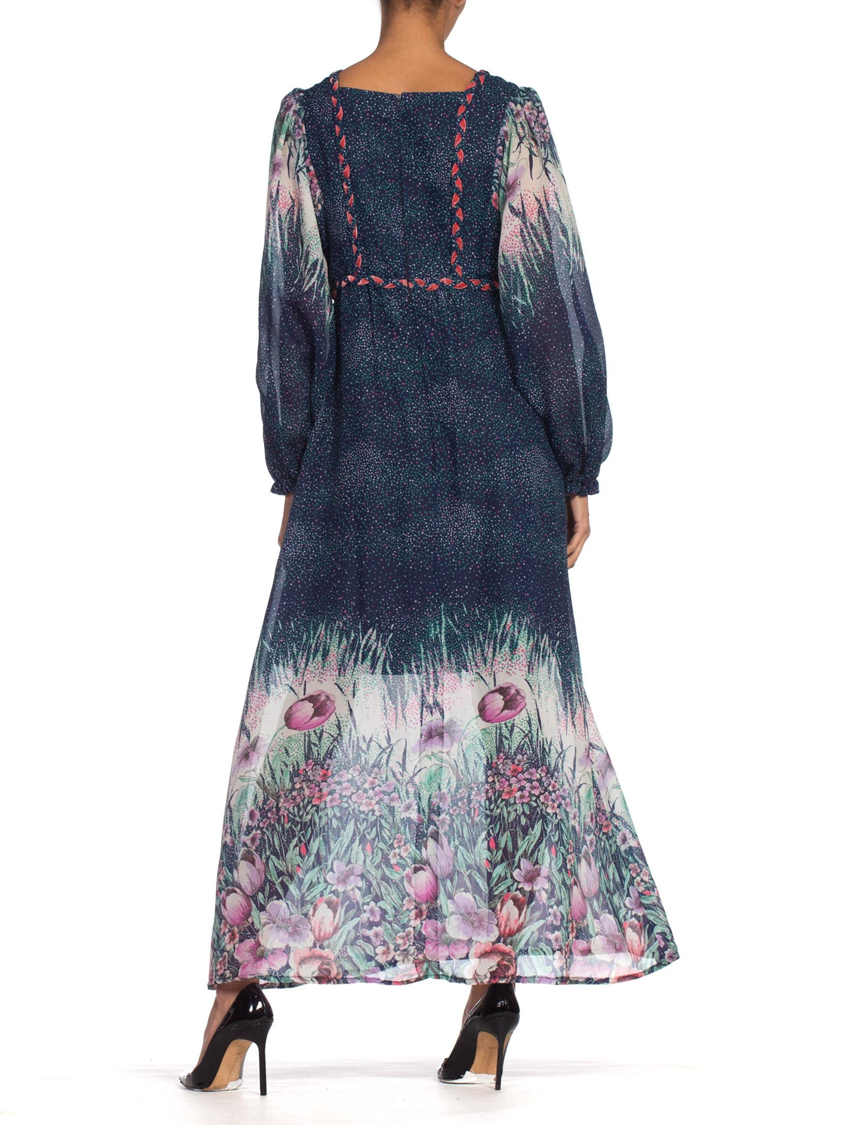 1970'S Navy Blue Polyester Chiffon Prairie Floral Boho Dress From Belgium