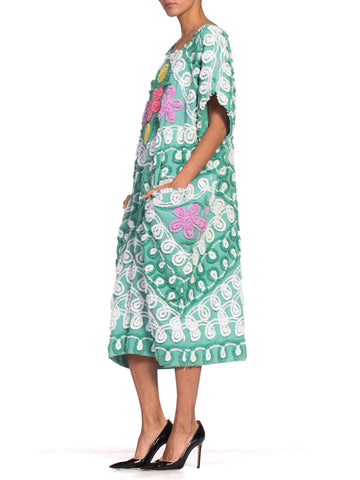 MORPHEW COLLECTION Teal Floral Cotton Chenille Beach Cocoon