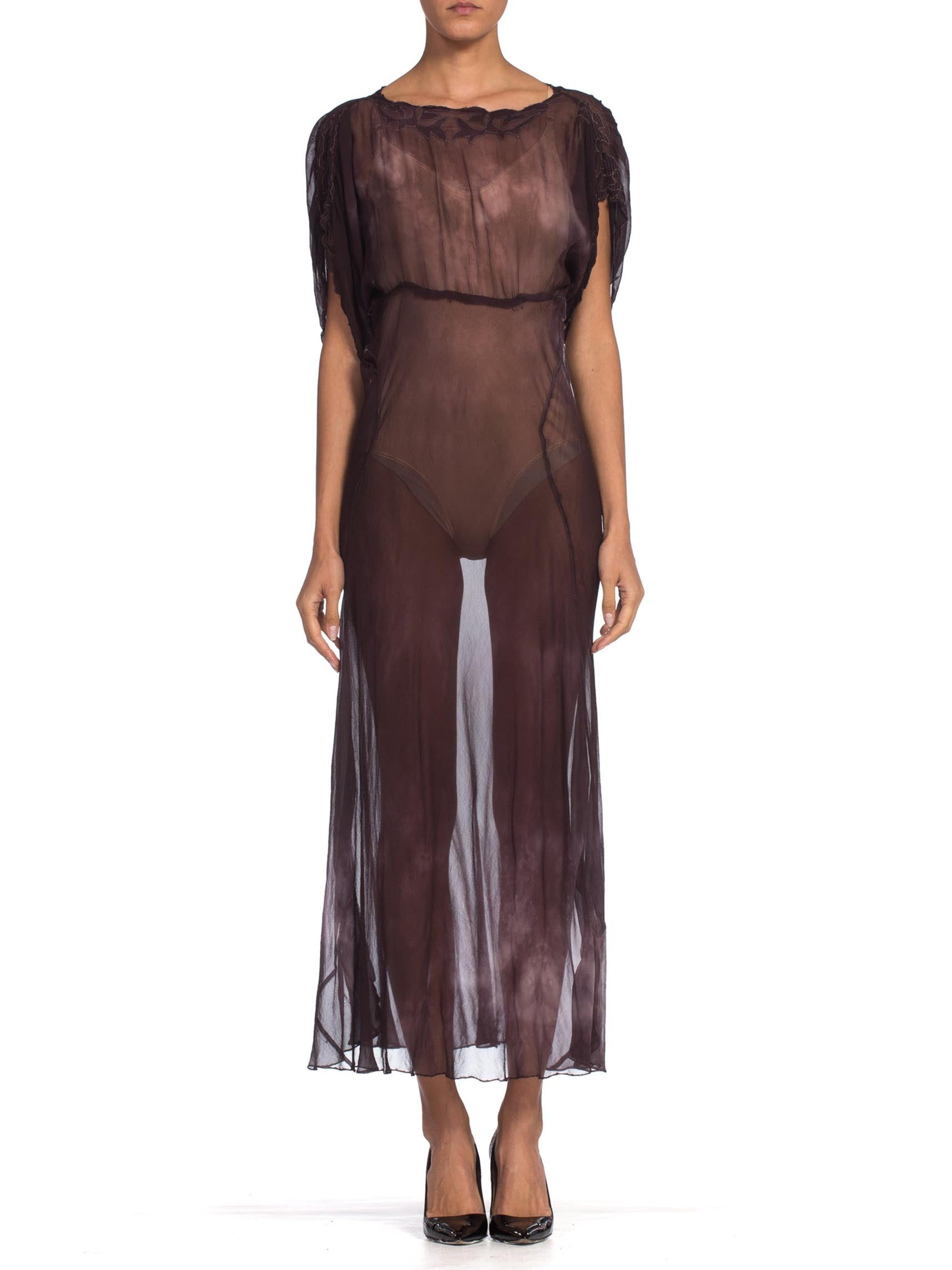 1930s Silk Chiffon Bias Sheer Tie Dye Reworked Dress
