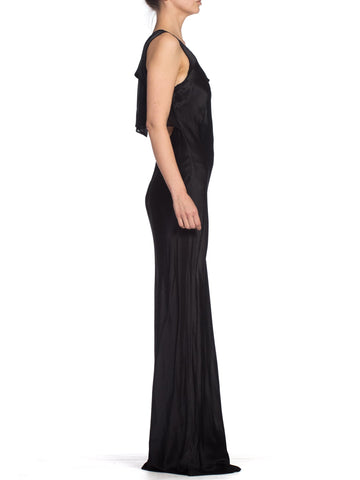 1990S GHOST Black Rayon Charmeuse Minimal Bias Cut Backless Gown With Chiffon Panel