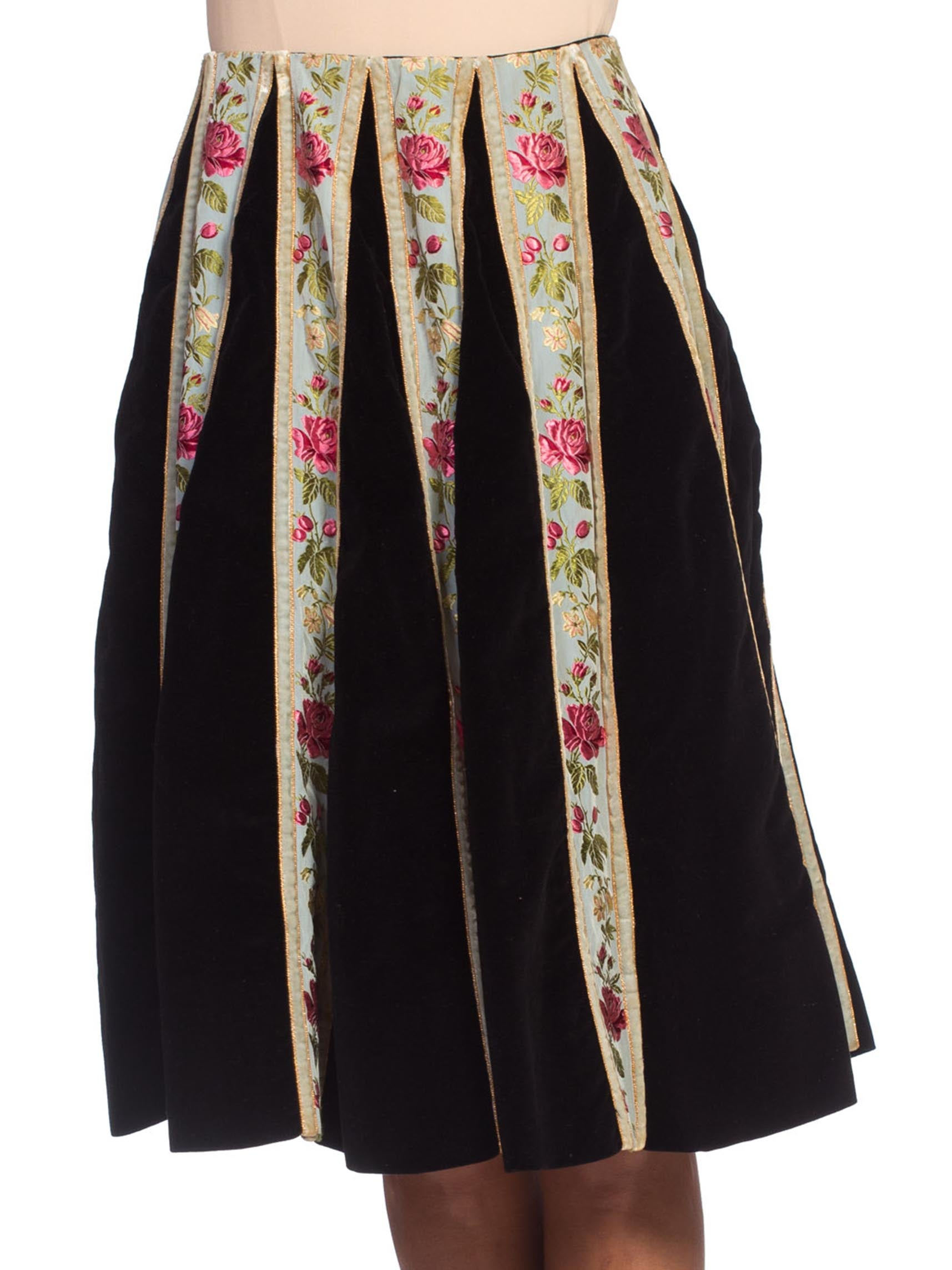 1950S Cotton Velvet Silk Ribbon Trim Skirt Made In Italy For Bergdorf Goodman