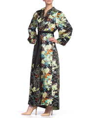 Lush Silk Satin 1970'S Floral Dress Lined In Japanese Silk