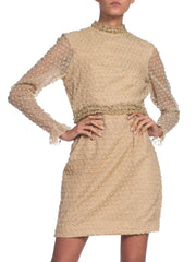1960's Oscar De La Renta Mod Gold Lurex Cocktail Dress