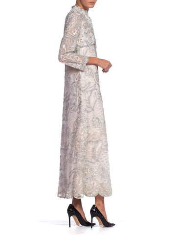 1960S Oyster Grey Rayon Lace Empire Waist Sleeved Gown Embroidered With Real Silver & Lurex Tinsel Ice Blue Crystals