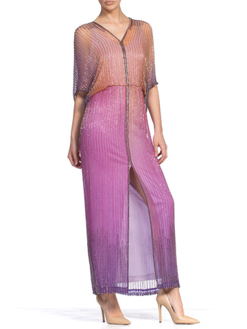 1970's Ombre Purple Pastel Tie-Dyed Bugle Beaded Halston Style Silk Chiffon