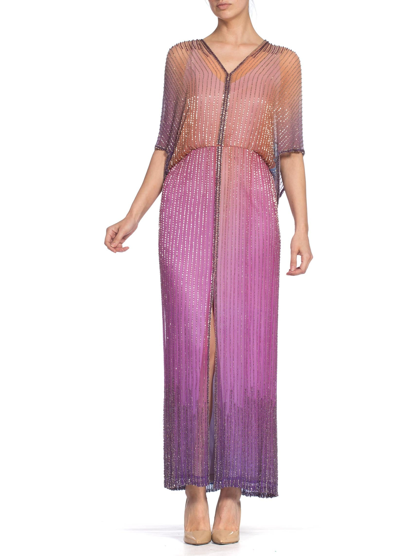 1970S HALSTON Style Pink & Purple Silk Chiffon Ombre Tie-Dyed Gown Covered In Bugle Beads