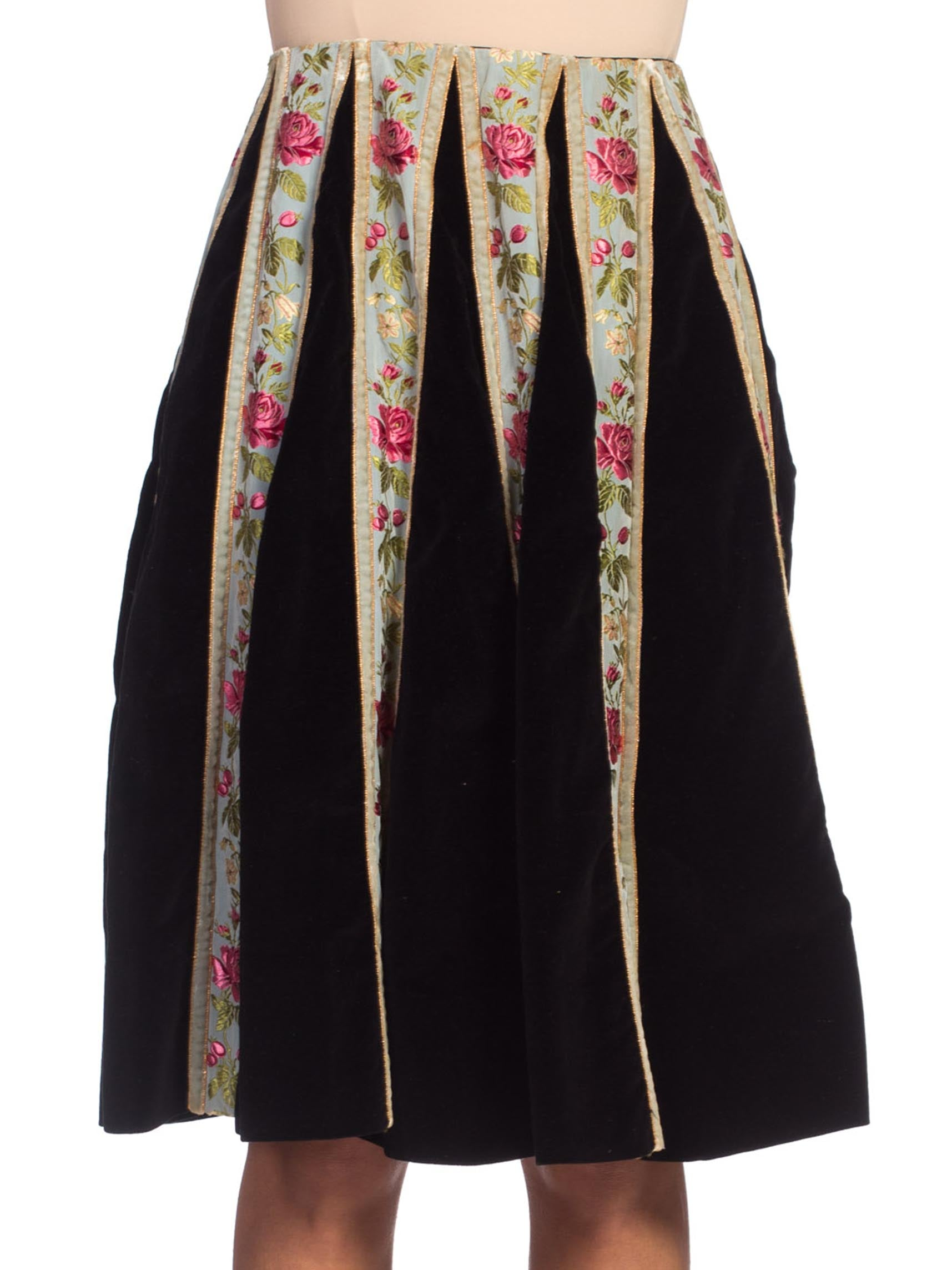 1940/50's Velvet + Silk Ribbon Skirt Made in Italy from Bergdorf Goodman
