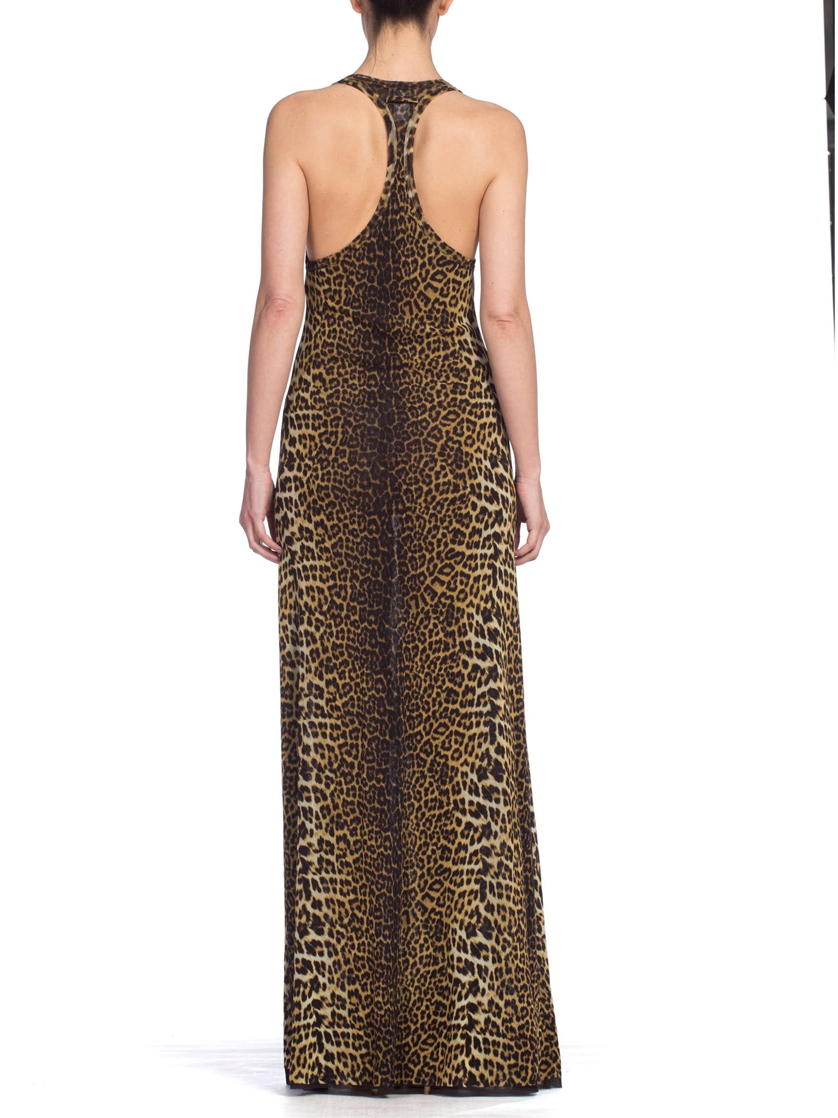 1990's Jean Paul Gaultier Leopard Print Maxi Dress With Floral Embroidery