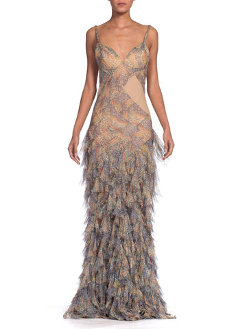Alexander McQueen Spring 2004 Shredded Bias Silk Chiffon Backless Gown