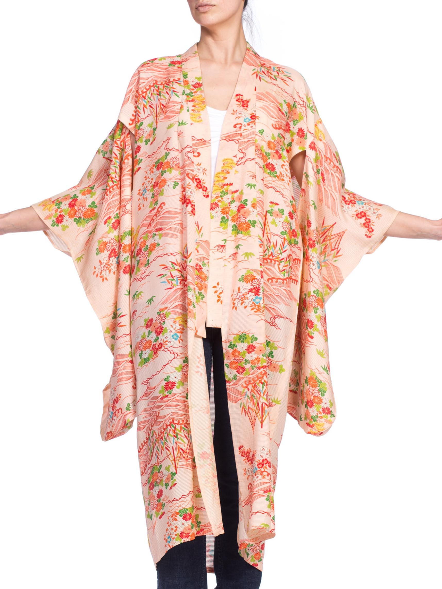 1960S Baby Pink & Red Silk Sheer Lightweight Japanese Kimono