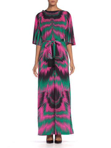 1970's Op-art Psychedelic Printed Nylon Jersey Dress