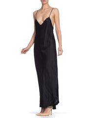 1990'S Donna Karan Black Silk Bias Cut Gown