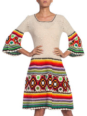 1960/70'S Boho Rainbow Crochet Sweater Dress