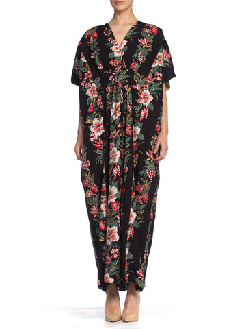 1970/80's Hawaiian Tropical Floral Cotton Kaftan