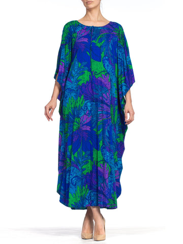 1970S Printed Tropical Cotton Barkcloth Pleated  Kaftan