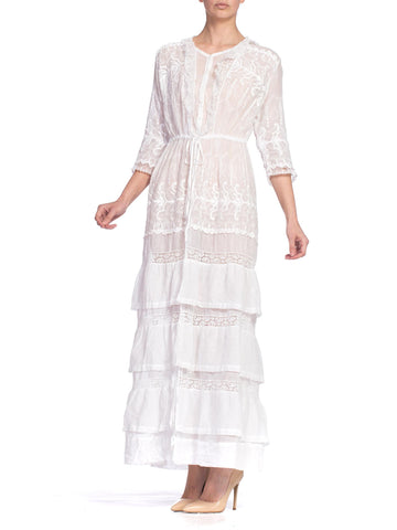 Morphew Original Wrap Dress Made from Victorian Eyelet Lace