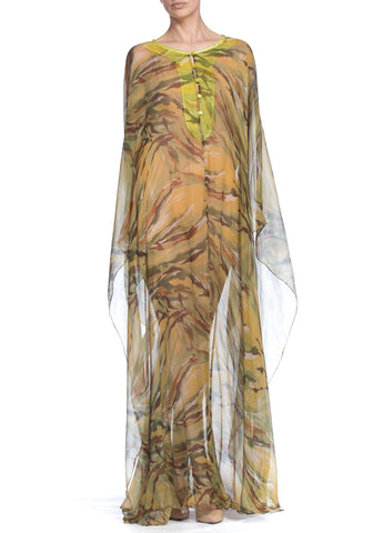 1990S Plein Sud Earth Tone Abstract Camo Silk Chiffon Sheer  Kaftan