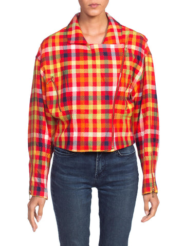 1990's  Emanuel Ungaro Clueless Silk Plaid Zipper Biker Jacket