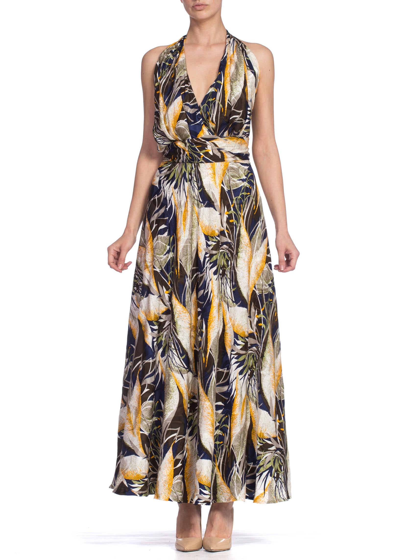 1980'S Silk Abstract Floral Printed Gown Lined In