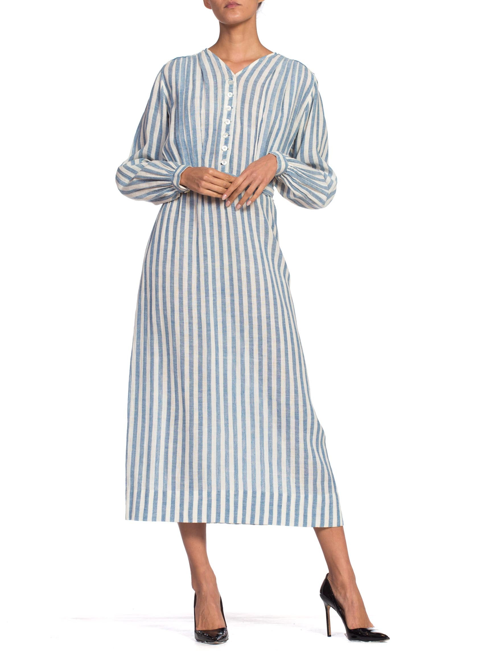 Edwardian Blue & White Striped Organic Cotton Lightweight Long Sleeve Dress With Belt