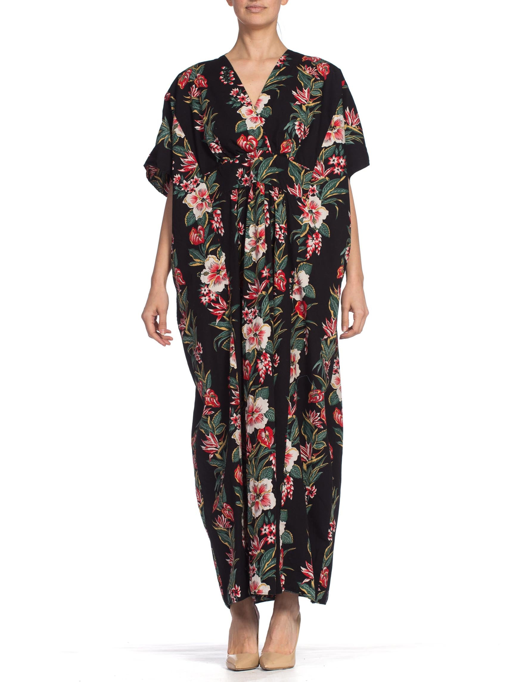 1970S Black & Red Cotton Tropical Floral Hawaiian Printed Kaftan