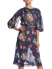 1930S Bias Floral Silk Chiffon Dress