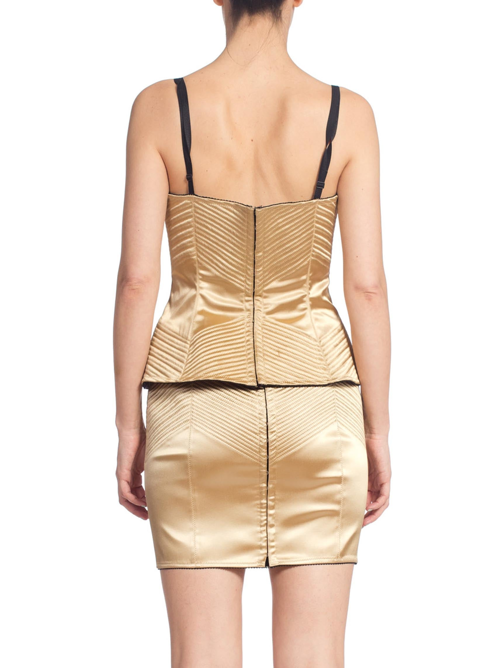 1990'S DOLCE & GABBANA Gold Satin Two Piece Corset Top Skirt Suit