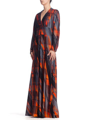 1970'S Geometric Printed Polyester Jersey Disco Long Sleeve Maxi Dress