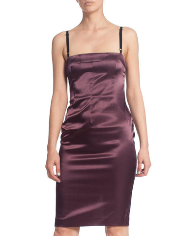1990S Dolce And Gabbana Purple Stretch Satin Slip Dress