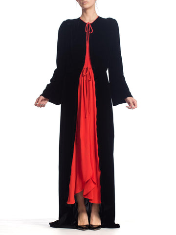 1930S Black Silk Velvet  & Red Crepe Dressing Gown Peignoir Robe