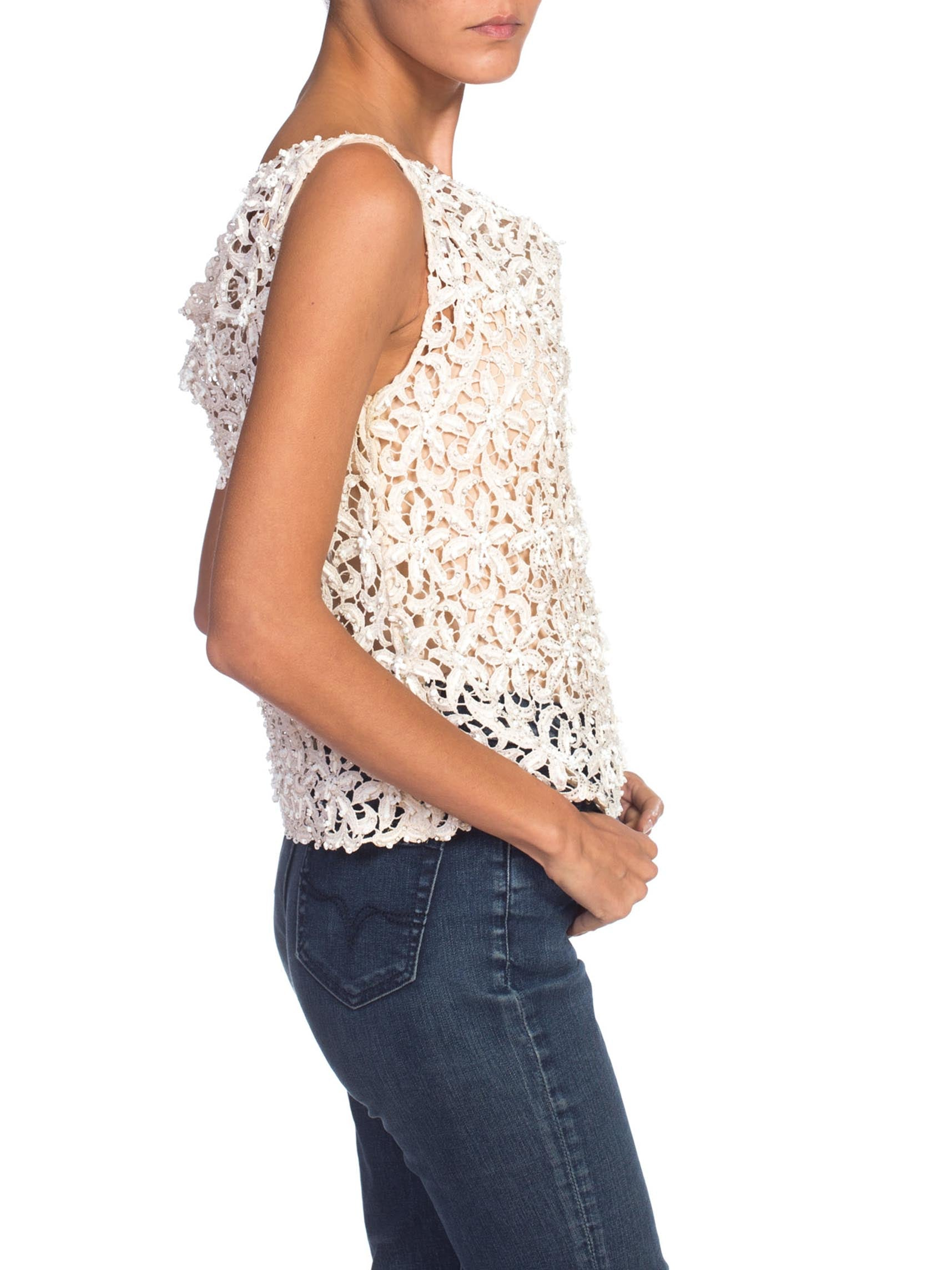 1960S Off White Cotton Lace Top With Beaded Dangles