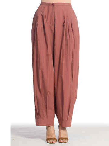 1980S Perry Ellis Triple Pleated Cotton Wide Leg Pants